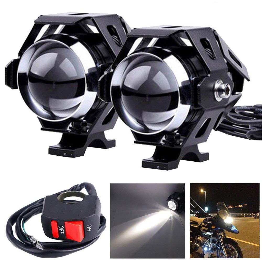 2pcs White Motorcycle Headlight Auxiliary Lamp U5 LED Motorbike Spotlight Accessories 12V Moto Drl Spot Headlight For Motorcycle
