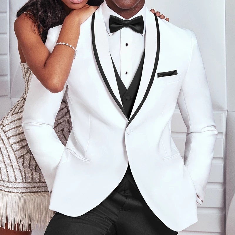 MyLoddy الأبيض والأسود الزفاف سهرة للعريس 3 قطعة ملابس رجالي تلائم الرجل النحيف الدعاوى رجل الموضة زي سترة مع السراويل سترة
