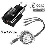 Быстрое зарядное устройство QC 3,0 с usb-портом для iphone 11, Samsung, Galaxy, Huawei, Xiaomi, Motorola G50 POCO, зарядное устройство 3 в 1, 8-контактный кабель Micro USB C