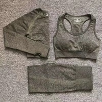 12 colors yoga set vital fitness sports suit women seamless leggings sports bralong sleeve crop top running gym clothing femme