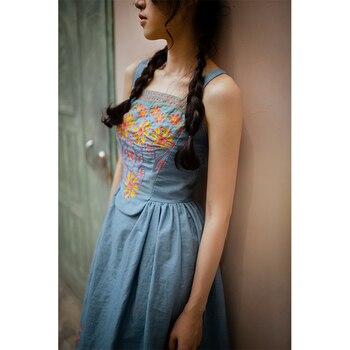 Women Dress Summer French Pastoral Style Embroidery Floral 100%Cotton Denim Midi Dress Lolita Cute High Waist Suspender Dress