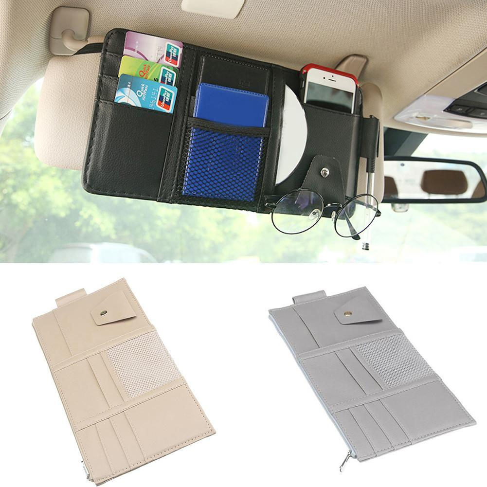 HOT SALES !!!Faux Leather Car Sun Visor Storage Bag Glasses Ticket Mobile Phone Organizer