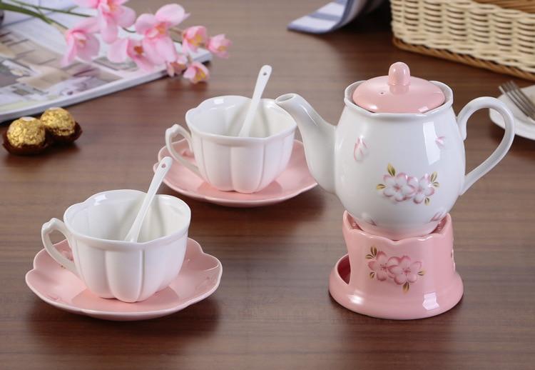 MCJ-فنجان قهوة وصحن سيراميك على الطراز الياباني والكوري ، طقم شاي على شكل زهرة ، مع قاعدة تسخين