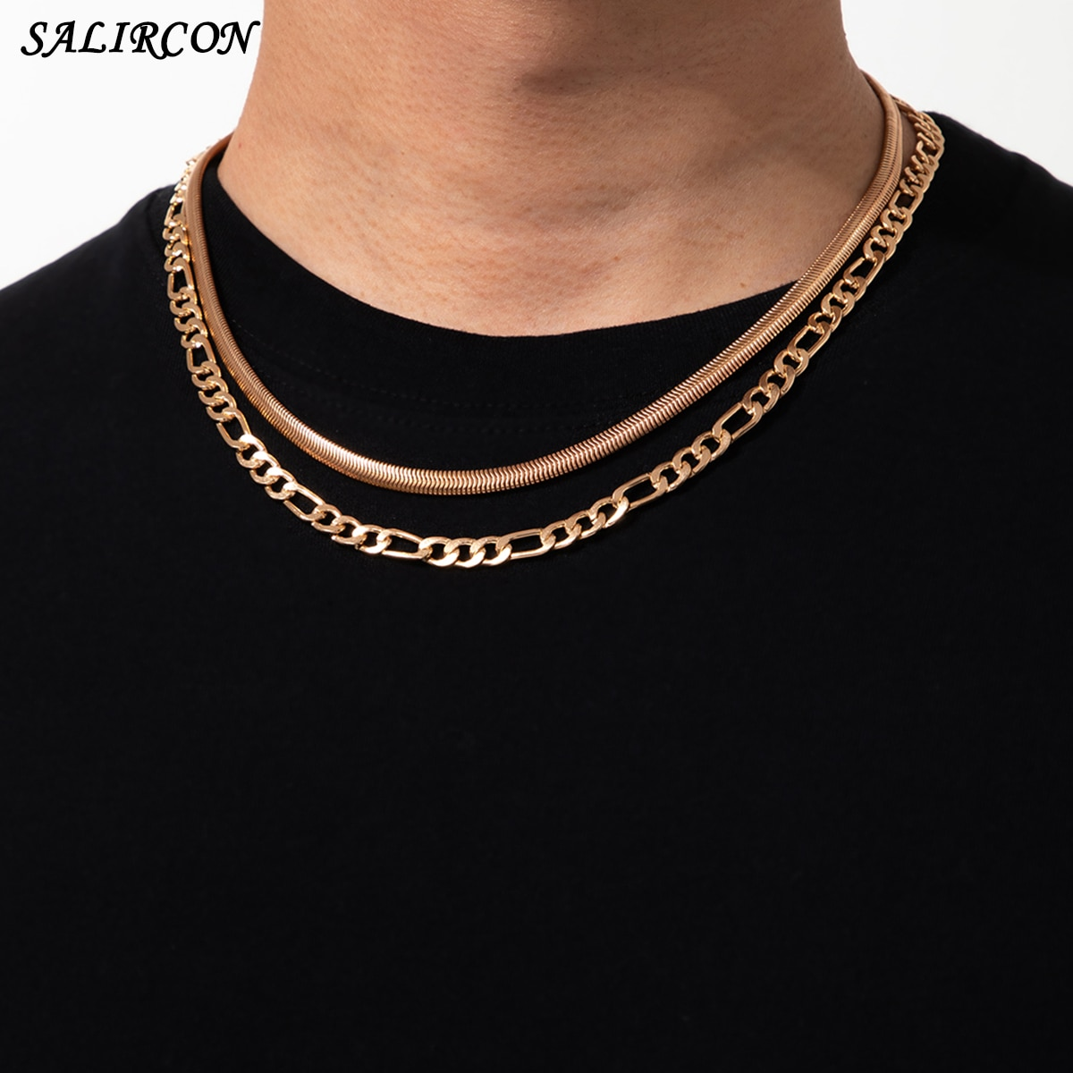 Vintage Copper Link Snake Chain Necklace for Women Men Kpop Aesthetic Layered Simple Chain Choker Necklace New Fashion Jewelry