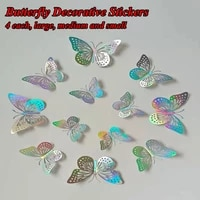 hollow decorative butterfly stickers home decoration stickers wall decoration 3d effect crystal laser butterfly stickers