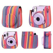Estojo de couro pu para câmera fujifilm, bolsa para câmera polaroid instantânea instax mini 11 acessórios