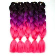 Trecce sintetiche da 24 pollici capelli arcobaleno Ombre colore verde rosa giallo trecce bionde Clip su estensione dei capelli Twist Jumbo MUMUPI