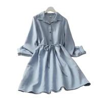 2021 spring and autumn casual womens bow tie lace high waist button mid length a line long skirt polo collar long sleeve dress