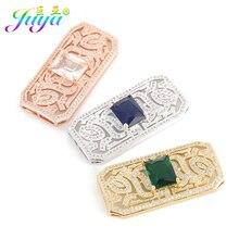 Juya pendentifs rectangulaires pour femmes, bijoux à bricoler, fournitures daccessoires soi-même, Micro pavé de Zircon, connecteurs pour femmes, pampille de perles