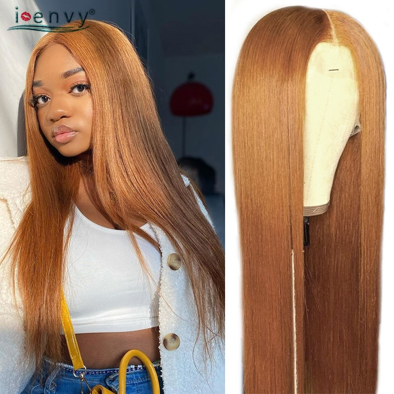 Ginger Blonde Lace Front Human Hair Wigs Straight 13x1 Brazilian Transparent Lace Front Wigs Orange Lace Front Wigs Blonde Remy