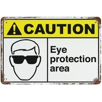 metal sign caution eye protection area street signs retro aluminum signs for indoor outdoor and road wall decoration