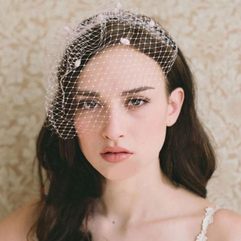 Vintage Simple Bridal Net Birdcage Veils Black Polka Dot Big Mesh Hairpin Brooch Headdress Fascinato