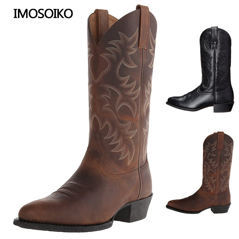AliExpress - 2021 Winter Burst Embossed Embroidery High Heel Wooden Root  Western Style  Cowboy Boots Mens Hiking Shoes Size 38-48