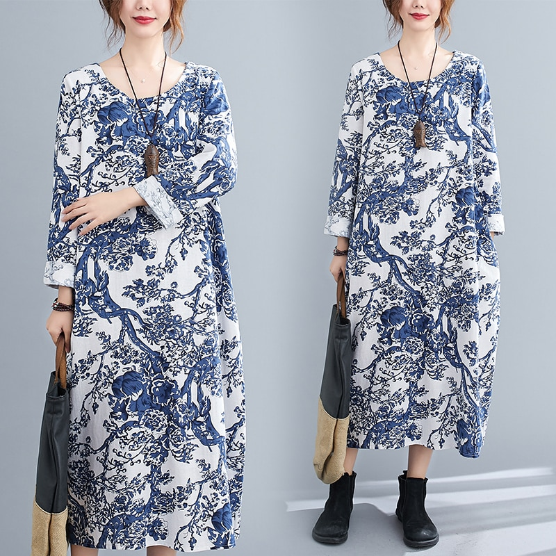 2020 Autumn New Ethnic Style Vintage Cotton and Linen Printed Long-Sleeved Dress Loose Slim Looking