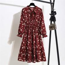 Spring Autumn Bow Slim Fit A Line Casual Women Elegant Dress Vintage Floral Print Dress Korean Lady Midi Party Chiffon Dresses