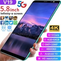new v19 5 8inch 4gb 64gb smartphones 8mp16mp android 10 4800mah ten core really mtk6889 5g dual sim global version cell phones