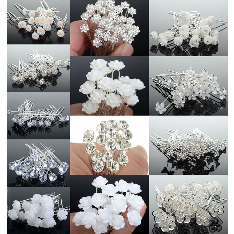 20/40PCS Wedding Bridal Pearl Hair Pins Flower Crystal hairpin Hair Clips Bridesmaid Jewelry Accessories Wholesale Drop Ship