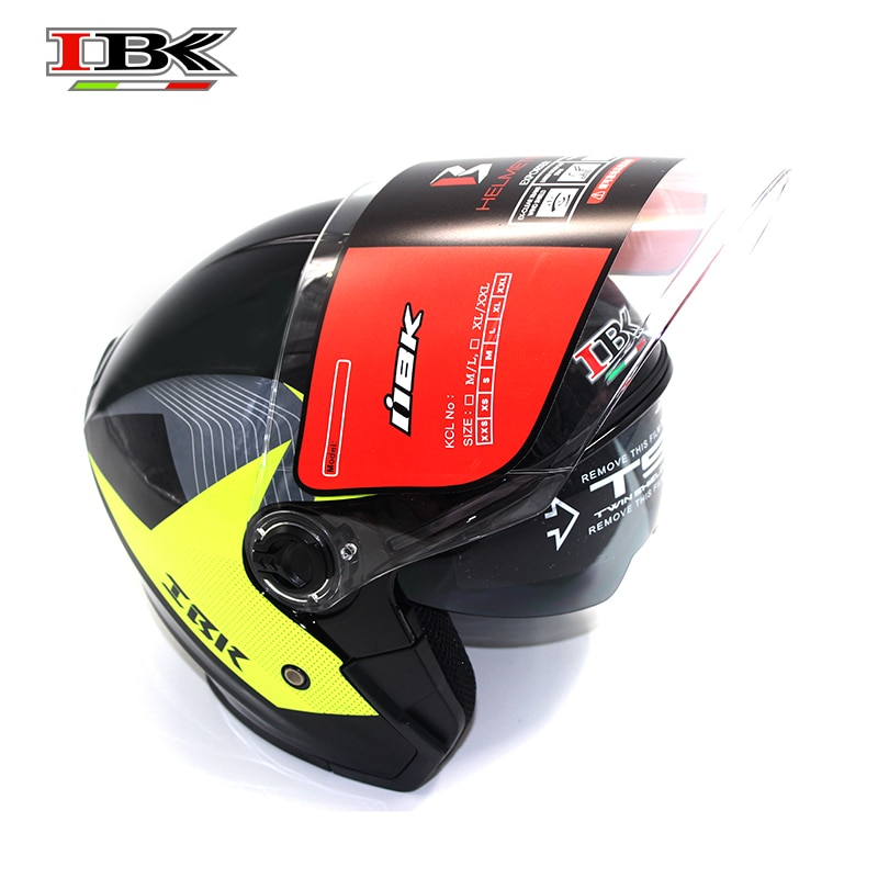 IBK Motorbike Casco Helmet Electric Bicycle Universal  Anti-UV Open-Face Double Lens 3/4 safety black Helmet IBK-705 enlarge