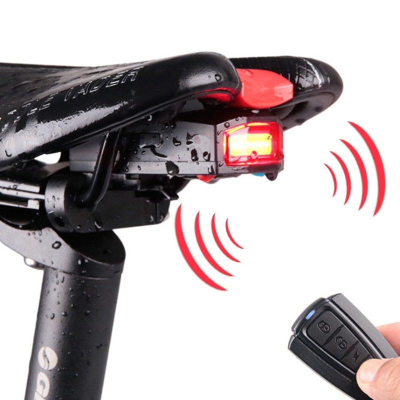 Linterna trasera para bicicleta, linterna, bocina, alarma antirrobo, con carga vía USB y Control remoto inalámbrico