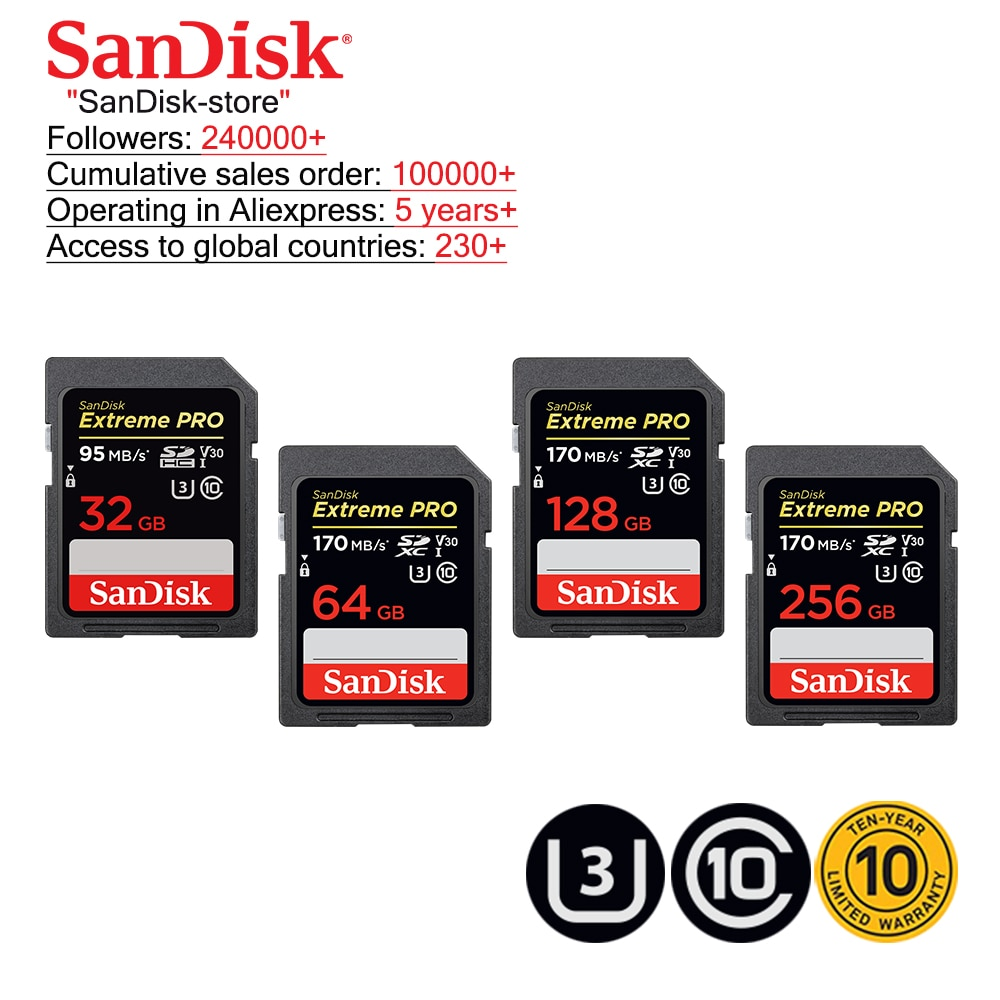 Tarjeta de memoria SanDisk Extreme Pro SDHC/SDXC tarjeta SD 32GB 64GB 128GB 256GB C10 U3 V30 UHS-I cartao de memoria tarjeta Flash para cámara