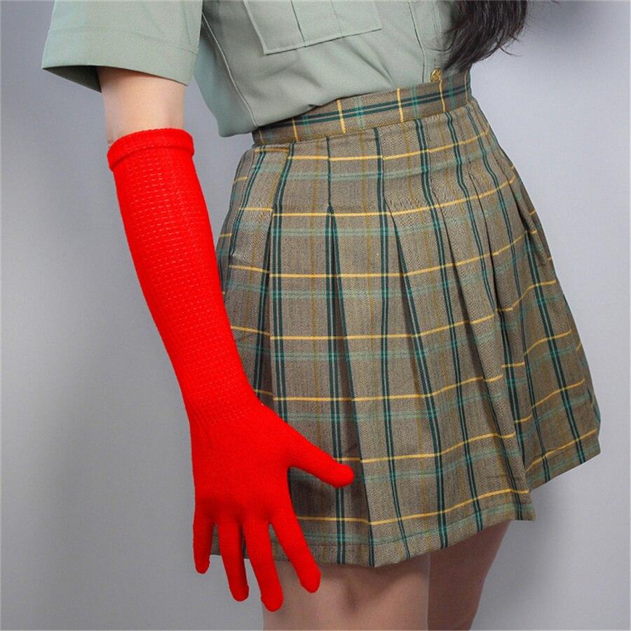 Guantes largos de lana de 40cm para mujer, de alta elasticidad con modelos de lana de color Rojo cálido, Z40-5 a precio de fábrica
