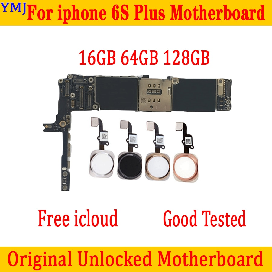 Original desbloqueado para iphone 6S Plus placa base con Touch ID/sin Touch ID para iphone 6S Plus placa base GB 16GB 64GB 128GB