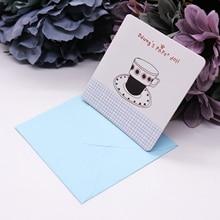 Pequeñas tarjetas de papel Kraft hueco creativo plegable Mini tarjeta de San Valentín Mini Linda tarjeta de felicitación plegable con decoración de fiesta