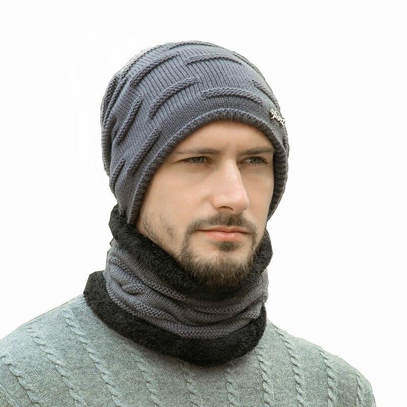 Зимняя шапка, шарф, мужские шапки, облегающие шапки, мужские вязаные зимние ранцы, мужские толстые теплые зимние детали