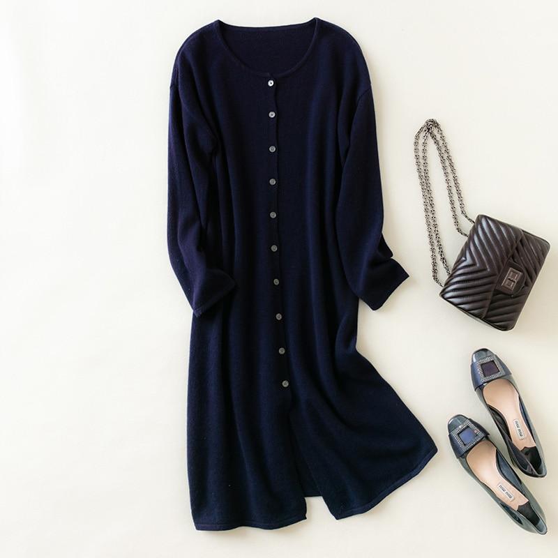 MeetMetro New 100% Merino Wool Women Long Cardigan Sweater Knitted Sweater Dress Long Cardigans Knit Sweater Long Sleeve Korean enlarge