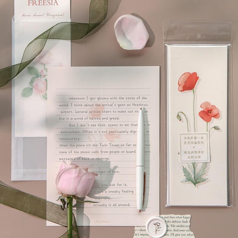 AliExpress - Creative Envelopes Letter Paper Set Flower Series Romantic Love Letter Greating Card Gift Birthday Present Letterhead Stationery