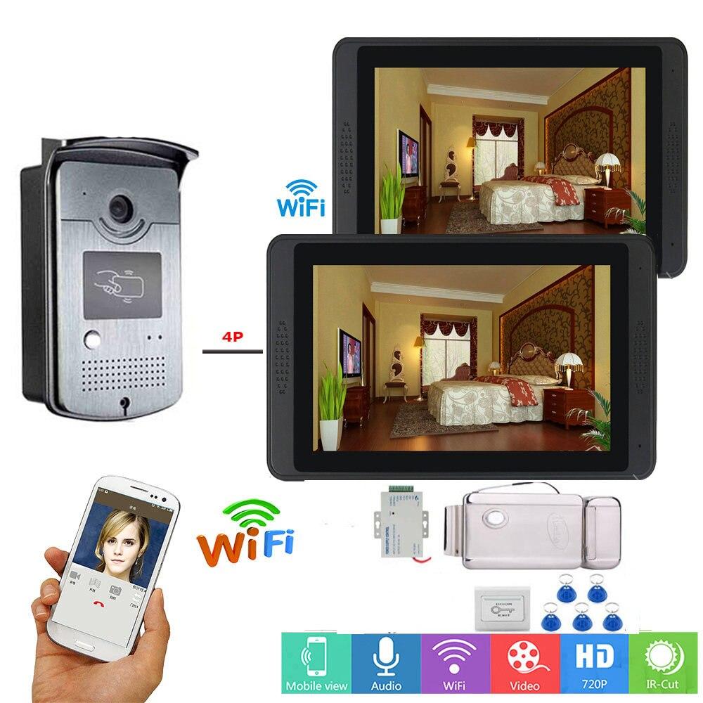 "7"" Video Door Phone Kit with ID Keyfobs + Electric Lock + Power Supply+ Door Exit for villa wird wifi video Intercom System"