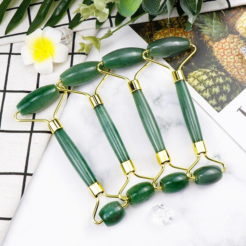Double Green Emerald Elliptical Roller Massager Eye Neck Health Care Thin Face Jade Roller beauty massager guasha board set faci