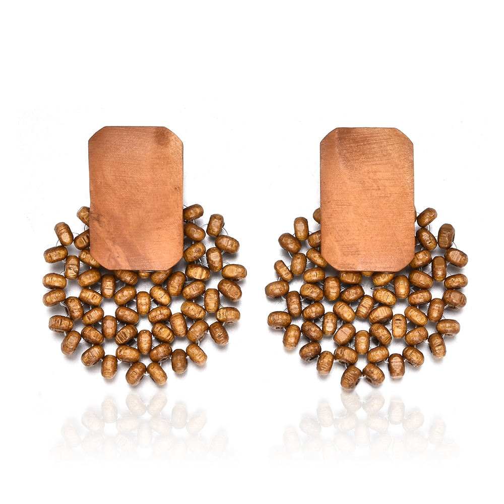 2019 New Women Handmade Wood Bamboo Rattan Pendant Dangle Drop Earrings Jewelry Female Charm Yellow Flower Accessories Earrings