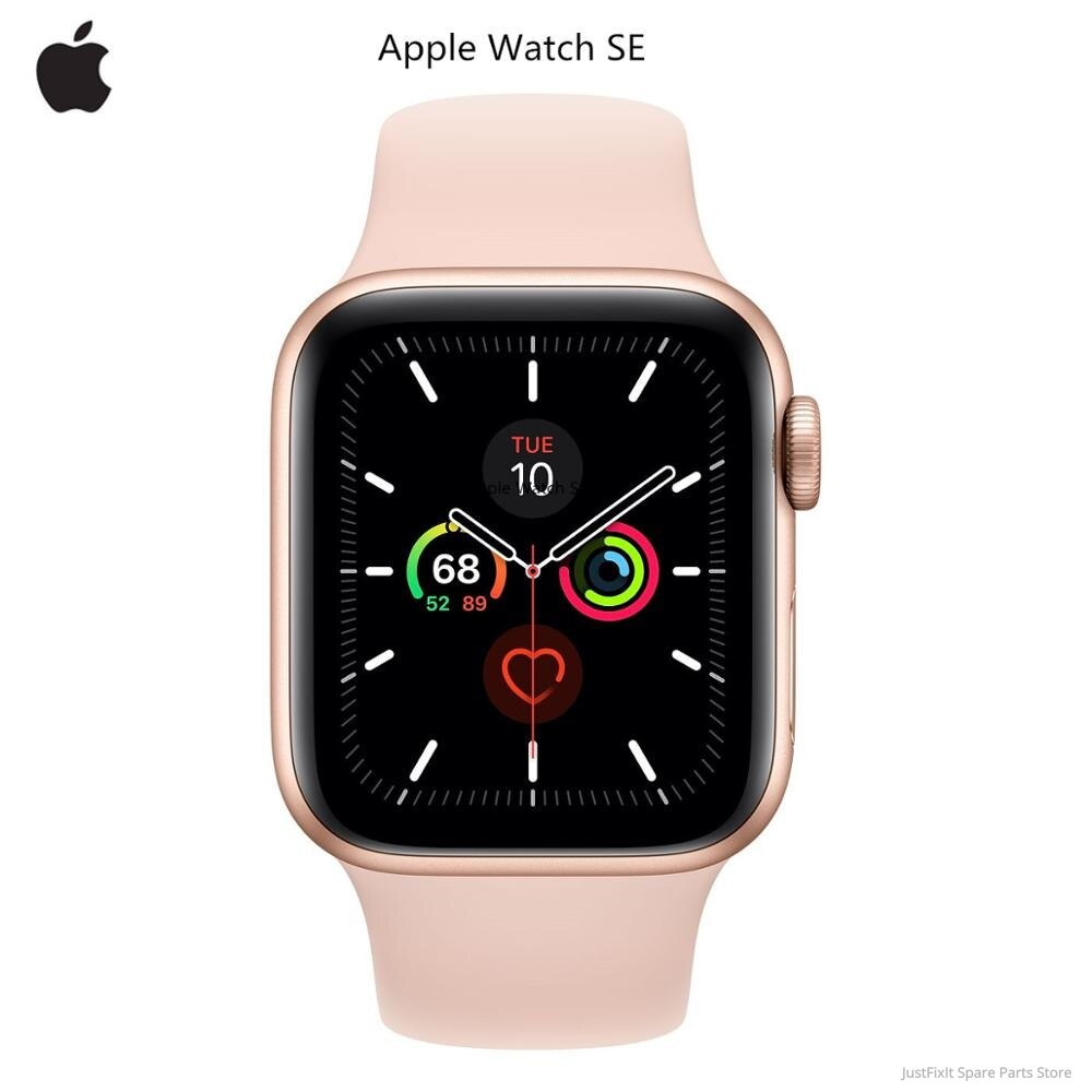 New Apple Watch SE Only GPS 40MM/44MM Aluminum Case with White/Black/Pink Sand Sport Band Remote Heart Rate Smartwatch