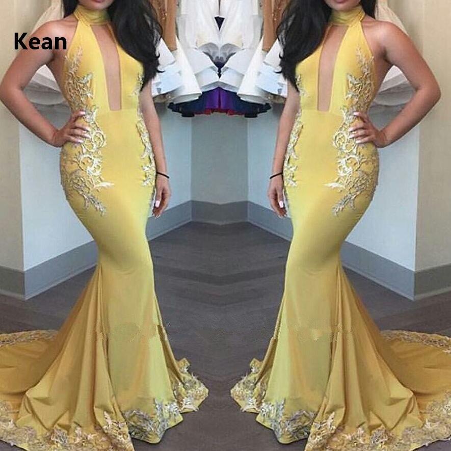 Yellow Deep V Muslim Evening Dress Mermaid Applique Satin Islamic Dubai Kaftan Saudi Arabic Evening Gown Prom Dress
