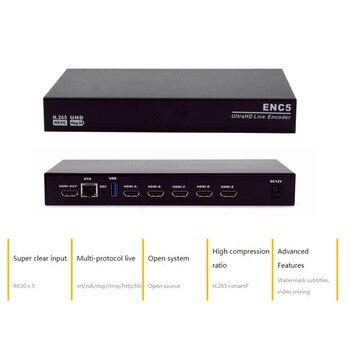 New 5 Channel 4K Encoder H.265 UHD Live Encoder HVEC RTMP SRT