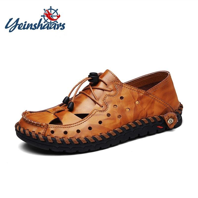 YEINSHAARS marca sandalias de los hombres de verano casuales zapatos de cuero genuino mocasines, hombres, conducción zapatos de alta calidad zapatos planos para hombre