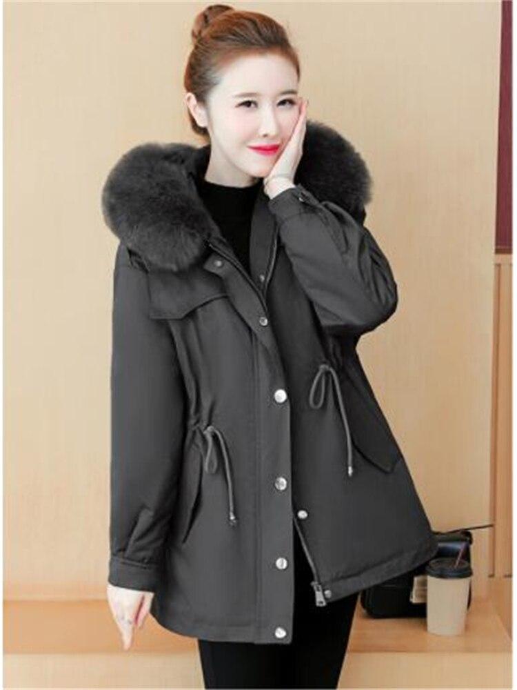 2021 Паркер теплая Женская бархатная куртка с большим меховым воротником средней длины непромокаемая стеганая куртка на шнурке Женская Зимн...