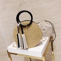 women straw shopper bag luxury designer handbag 2021 fashion casual woven tassel chain ring handle round beach bag crossbody bag