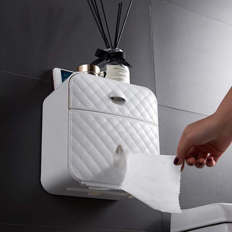 حامل ورق التواليت المثبت على الحائط ، صندوق تخزين ورق التواليت المقاوم للماء ، حامل ورق التواليت متعدد الوظائف