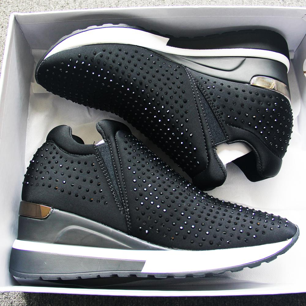 De diamantes de imitación zapatos Blingbling mujeres transpirable zapatos de malla para mujer brillo grueso Zapatos Zapatillas de deporte de ocio Chaussures Femme