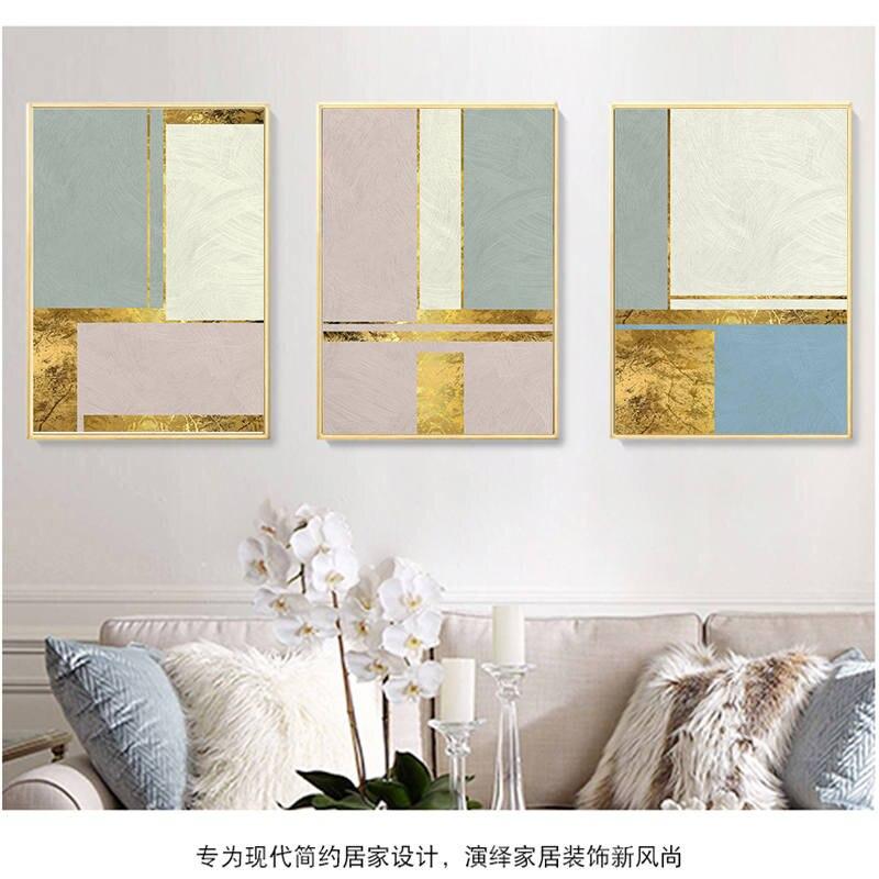 Pintura abstracta de la lona de la hoja de oro de escandinavía carteles nórdicos impresiones de la pared del arte POP para la decoración del hogar de la sala de estar de la galería