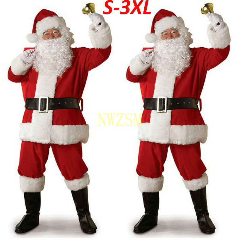 Christmas Santa Claus Costume Cosplay Santa Claus Clothes Fancy Dress In Christmas Men 5pcs/lot Costume Suit For Adults hot