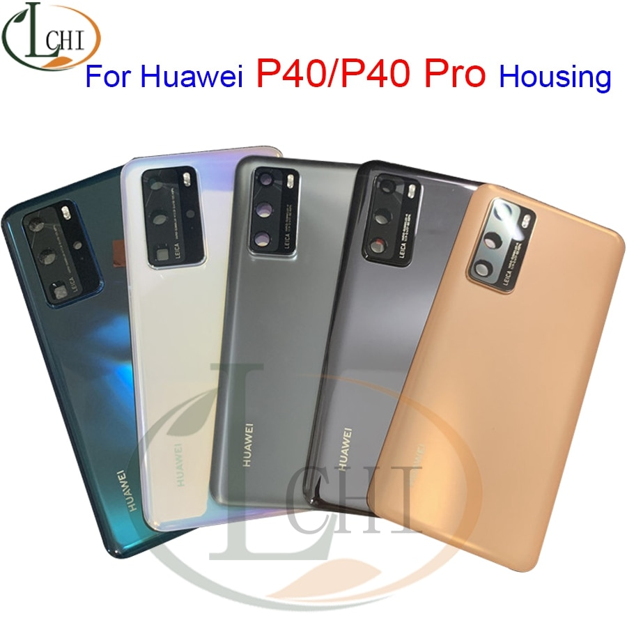 Origianl P40 Housing For Huawei P40 Pro Battery Cover + Camera Lens Cover For Huawei P40 Back Cover Glass Rear Door Case Glass