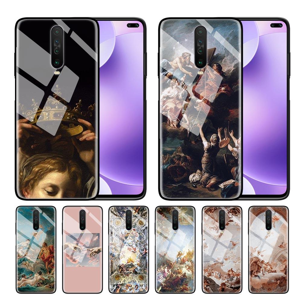 Funda de vidrio templado para teléfono para Redmi 7 8A 9T Note 6 7 8 8T Pro funda para Xiaomi mi Note 10 Pro carcasa renacentista ángeles colorido