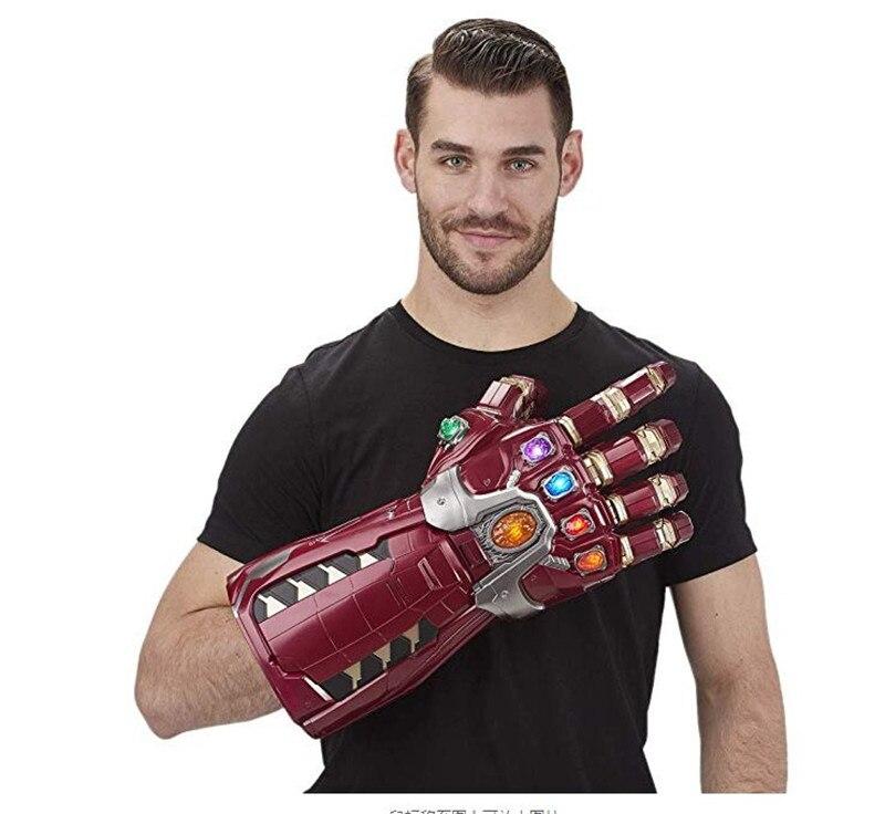 Yeni tip 11 PVC led ışık Avengers Endgame demir adam Nano eldiven Thanos Infinity dayağı zırh Hulk Cosplay eldiven sahne