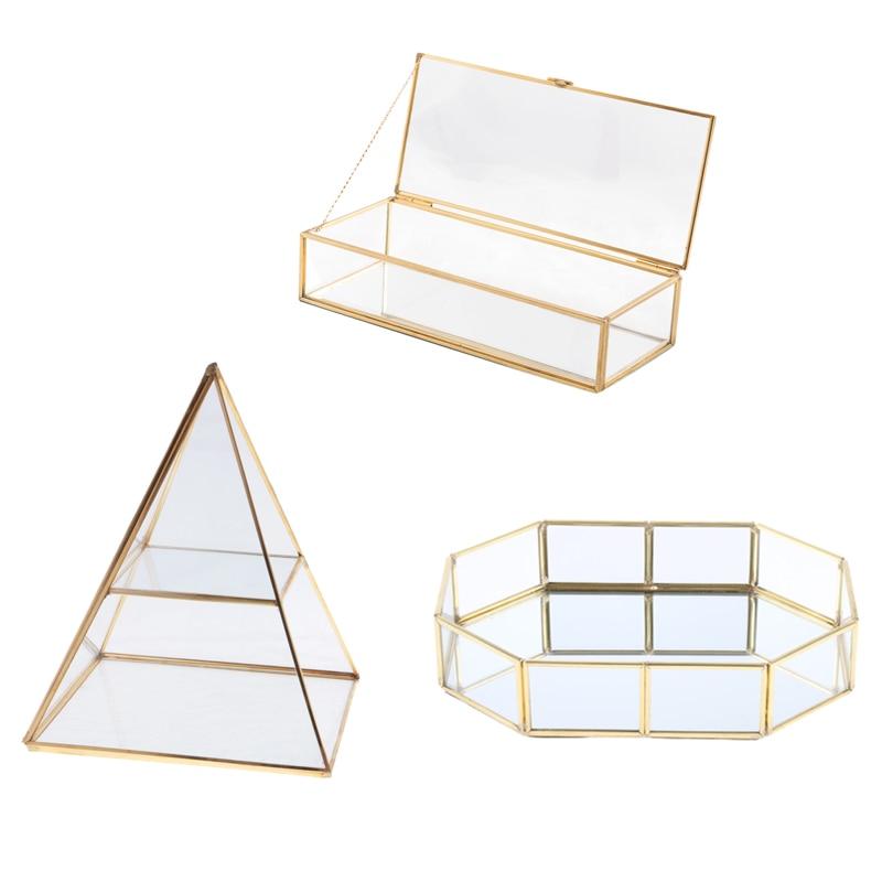 Trinket Storage Case Shinnie Women Jewelry Dispaly Stand Pyramid Clear Glass Box Jewellery Display B