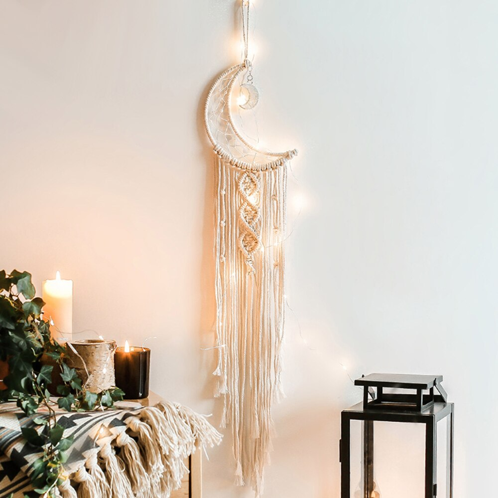 Tapiz colgante de pared colgante de luz LED cadena Luna atrapasueños moda Bohemia decoración de pared con borla macramé tejida a mano