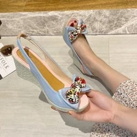 2020 new summer shoes women sandals high heels women bow fish mouth open toe sandals casual shoes nvlx73