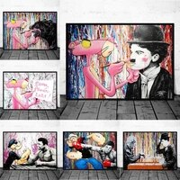 funny abstract pink panther painting art poster painting on the wall art animal cartoon graffiti home decoration canvas